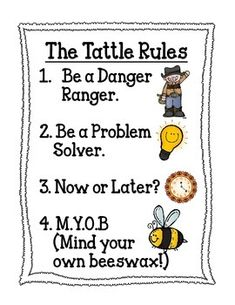 Don't get a tattle tongue! 4 Simple rules for students to ask themselves before they come and tattle! Simple rules with pictures for non readers. Classroom Rules, Classroom Organization, Classroom Management, Simple Rules, Group Work, Counselling, Social Work, Grade 1, School Projects