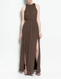 zara draped dress x Draped Dress, Dress Up, Slit Dress, Zara Dresses, Fashion Dresses, Lanvin, Dresses For Formal Events, Greek Fashion, Costume