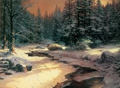 """My """"Winter's End"""" is about that special time when winter warms into spring. It's also about the tracks we leave in our passage through life. I like to imagine that the sled which left its trail in the melting snow might be the same one that carried the traveler in Robert Frost's famous poem.  — Thomas Kinkade.  February 1993"""