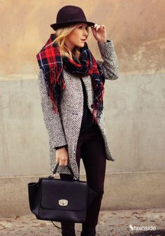 Oversize Houndstooth Coat - Womens Fashion Clothing at Sheinside.com