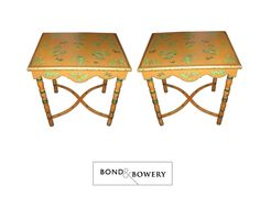 A Pair of French Tole Style Side Tables