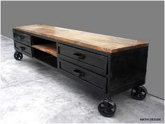 Meuble tv industriel, meuble bas rangement,