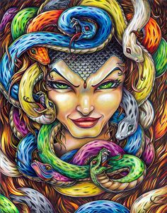 Medusa Greek Mythology colored pencil art print by by bryancollins (Art & Collectibles, Prints, whimsical, gothic, horror, sexy, beauty, woman, snakes, pop, illustration, Prismacolor, prints, gorgon, colorful)