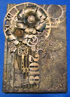 mixed media book cover diary