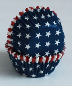 24 Navy Blue with White Stars Cupcake Liners by LuxePartySupply