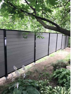 Discover the most beautiful composite fence on the market. Our composite fencing boards come in tropical colors. Learn more about composite fencing prices! No Grass Backyard, Backyard Plants, Backyard Retreat, Backyard Fences, Backyard Projects, Backyard Landscaping, Privacy Screen Outdoor, Privacy Screens, Backyard Movie