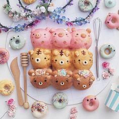 Chigiripan! #foodporn #foodshare #cutefood Anna Chan, Puff And Pie, Choco Chocolate, Kawaii Cooking, Party Food Platters, Kawaii Dessert, Bread Art, Kawaii Bento, Cute Buns