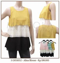 #MINEOLA Alina blouse yellow. Also available in pink and yellow color. Rp.198.000,- Bust: 80cm - Length: 68cm. Fabrics: chiffon + cotton. Product code: 1-13051052