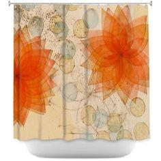 Exceptional Unique Shower Curtains Paper Mosaic Studio   Spacey Orange Flowers