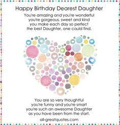 Happy Birthday Quotes For Daughter Happy Birthday Wishes To My Daughter Quotes Httpwww .