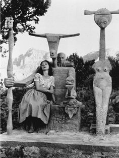 Dorothea Tanning and Max Ernst - with the Capricorne Sculpture, 1948