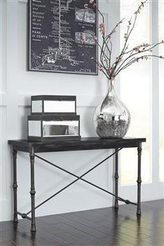 Ballor Vintage Casual Pewter Sofa Table