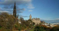 The skyline of Edinburgh, capital of Scotland, is part of its appeal. Here, looking east, the 'Gothic skyrocket' - the Scott Monument - is on the left, with the Balmoral Hotel centre. Princes Street Gardens is the green space below.