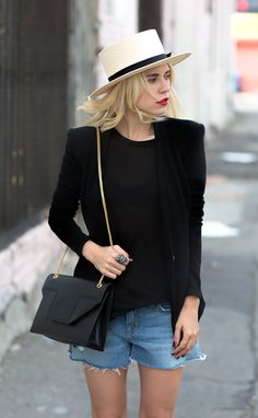 black tee + black blazer + cutoffs + a great hat