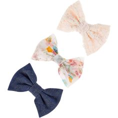 Accessorize 3 X Fabric And Lace Bow Salon Clips