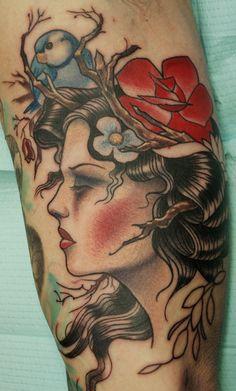 Tree and hibiscus flower tattoo on fullback