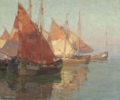 Edgar Payne Sardine Boats, Chioggia, Italy, oil on linen, 25 x 30 inches Landscape Art, Landscape Paintings, Ship Paintings, Landscapes, Edgar Payne, Missouri, Sailboat Painting, Classic Paintings, Cool Sketches
