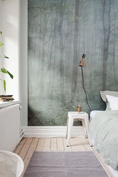 New Wall Paper Bedroom Scandinavian Bedside Tables Ideas Scandinavian Bedroom, Scandinavian Interior Design, Scandinavian Apartment, Contemporary Interior, Home Bedroom, Bedroom Decor, Bedrooms, Forest Bedroom, Woodland Bedroom