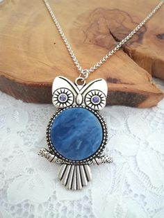 Blue owl Owl necklace Owl pendant Owl jewelry Owl gift