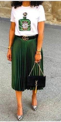 An everything everyday outfit - Gucci Shirt - Trending Gucci Shirt for sales. - - An everything everyday outfit Mode Outfits, Casual Outfits, Fashion Outfits, Fashion Trends, Pleated Skirt Outfit Casual, Green Skirt Outfits, Long Pleated Skirts, Metallic Skirt Outfit, Green Outfits For Women