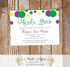 Mardi Gras Sprinkles Purple Yellow Gold Invitation - can be for any baby shower birthday party ball event by NotableAffairs
