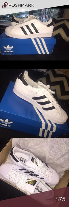 Adidas Superstar NEVER WORN! BRAND NEW, CLEAN, NEVER WORN. This is a men's size 9. The shoe is too big for me (size 11 women's). PLEASE BUY ☺ Adidas Shoes Sneakers