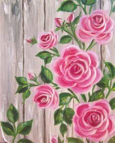 Check out Barnyard Roses at 99 Restaurant - Hey! Check out Barnyard Roses at 99 Restaurant Hey! Check out Barnyard Roses at 99 Restaurant Painting Flowers Tutorial, Easy Flower Painting, Acrylic Painting Flowers, Simple Acrylic Paintings, Easy Paintings, Fabric Painting, Painting & Drawing, Flower Art, Art Floral