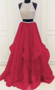 Red Beaded Prom Dress,Two Pieces A Line Prom Dress,Custom Made Evening Dress,Sweetheart prom dress,A-Line dress