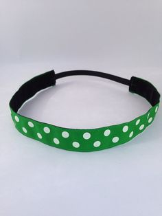 Green & White polkadots non-slip headband for everyday and active wear on Etsy, $8.00