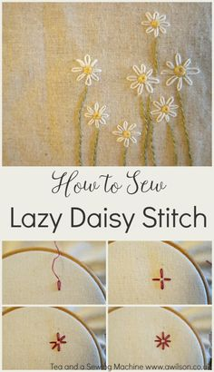 A tutorial showing how to sew lazy daisy stitch. Clear steps and lots pictures, plus 2 free flower designs to download.