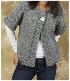 Quick Sweater Knitting Patterns #knitting #patterns #free #sweater #cardigans #jackets Knitting Pattern for Easy Quick Swing Coat - One-button cardigan jacket is knitted from the top down in one piece. Quick knit in super bulky yarn. Baby Knitting Patterns, Knitting Patterns Free, Free Pattern, Crochet Patterns, Easy Patterns, Knitting Tutorials, Top Pattern, Stitch Patterns, Afghan Patterns