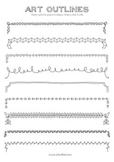 Set of borders art outlines full page 9 original by artoutlines outline illustration, bullet journal Doodle Drawings, Doodle Art, Outline Illustration, Doodle Borders, Doodles, Bullet Journal Inspiration, How To Draw Hands, Copic, Hand Drawn