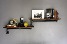 Industrial Pipe Shelf or Bookshelf - Made from Reclaimed Materials