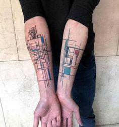 modèle de tatouage de bâtiment à thème architecture pour bras