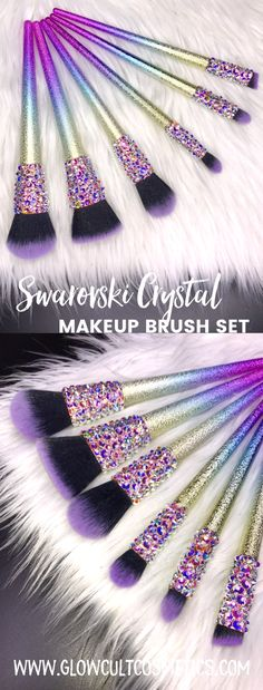 Crystal rhinestone makeup brushes from www.glowcultcosmetics.com