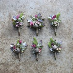Boutonniere for a native bush wedding in early autumn