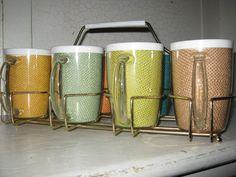 Vintage Raffia Ware burlap wrapped mug set with carrier.. $60.00, via Etsy.
