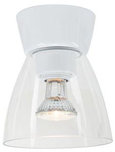 Bizzo i vitt fäste med klarglas. Halopar ljuskälla ingår, ger ett riktat ljus och passar bra där man vill ha lite effekt/punktbelysning.