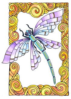 Items similar to Dragonfly Original Drawing Watercolour Whimsical Abstract Art Nouveau on Etsy Dragonfly Drawing, Dragonfly Wall Art, Dragonfly Clipart, Tangle Art, Pen And Watercolor, Silk Painting, Doodle Art, Art Nouveau, Coloring Pages