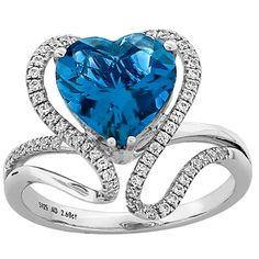 1stdibs | Blue Topaz Heart Diamond Gold Ring