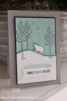 LizDesign Stampin' Up White Christmas Card
