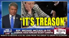"""by JEFF POOR Thursday on Fox News Channel's """"Fox & Friends,"""" House Homeland Security Committee chairman Rep. Michael McCaul (R-TX) argued when you consider the consequences of Democratic presidential nominee Hillary Clinton's handling of classified information by using her own private email server, it amounted """"treason"""" given who and what it jeopardized. """"Now we find out, and James Comey told me previously that it is very likely foreign adversary nations got into her private server,""""…"""