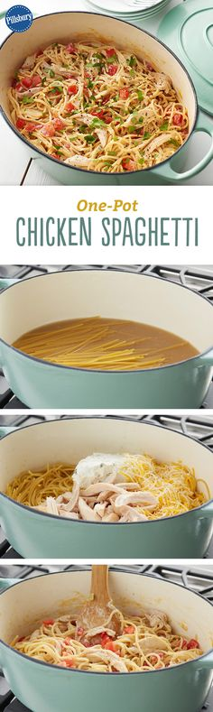 Jalapeño cream cheese is a great flavor twist in this classic chicken spaghetti. Best of all though, this easy dinner preps in one pot!(One Pot Chicken Dishes) Pasta Recipes, Chicken Recipes, Dinner Recipes, Cooking Recipes, Healthy Recipes, Cooking Pasta, Chicken Meals, Chicken Spaghetti, Spaghetti Squash