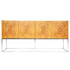 1970's Milo Baughman burl wood sideboard