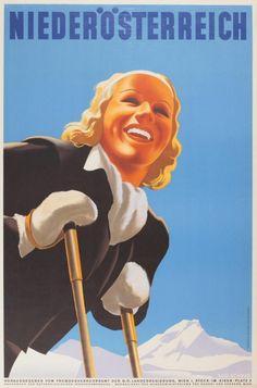 1950s Niederösterreich, Austria Ski Poster (Schmid, 1950)  1950s ski poster for Niederösterreich, Austria. Printed by Christoph Reissers Sohne in Vienna.