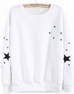 Sudadera bordado estrellas manga larga-Blanco EUR€16.68