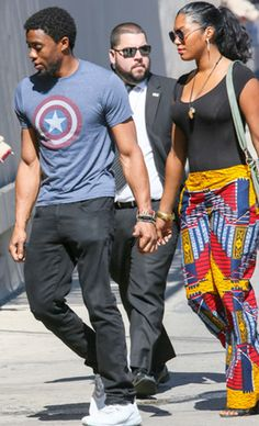 His lady friend is pretty and I'm sure a good person to have his affection Black Panther King, Black Panther 2018, Black Panther Marvel, Black Actors, Black Celebrities, My Black, Black Man, Black Panther Chadwick Boseman, Handsome Black Men