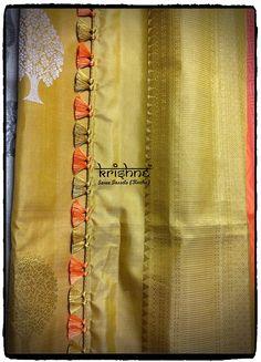 Traditional Silk Saree Kuchu Saree Kuchu New Designs, Cotton Saree Blouse Designs, Saree Tassels Designs, Fancy Blouse Designs, Wedding Saree Blouse, Bridal Silk Saree, Gold Silk Saree, Hand Work Blouse Design, Designer Blouse Patterns