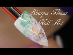 Sharpie and Flower nail art by Black Swan Beauty