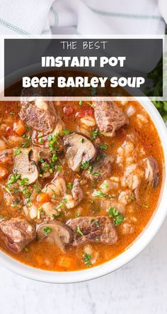 Best Pressure Cooker Recipes, Slow Cooker Recipes, Beef Recipes, Best Healthy Dinner Recipes, Easy Soup Recipes, Delicious Recipes, Yummy Food, Beef Barley Soup, Quick And Easy Soup